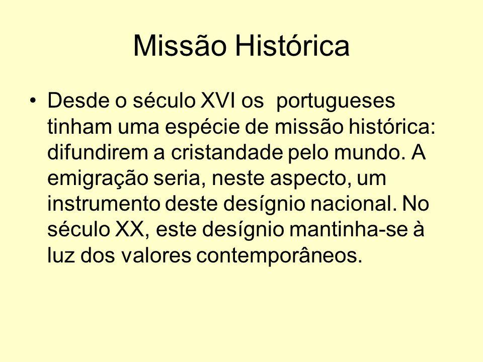 Missão Histórica Desde o século XVI os portugueses tinham uma espécie de missão histórica: difundirem a cristandade pelo mundo.