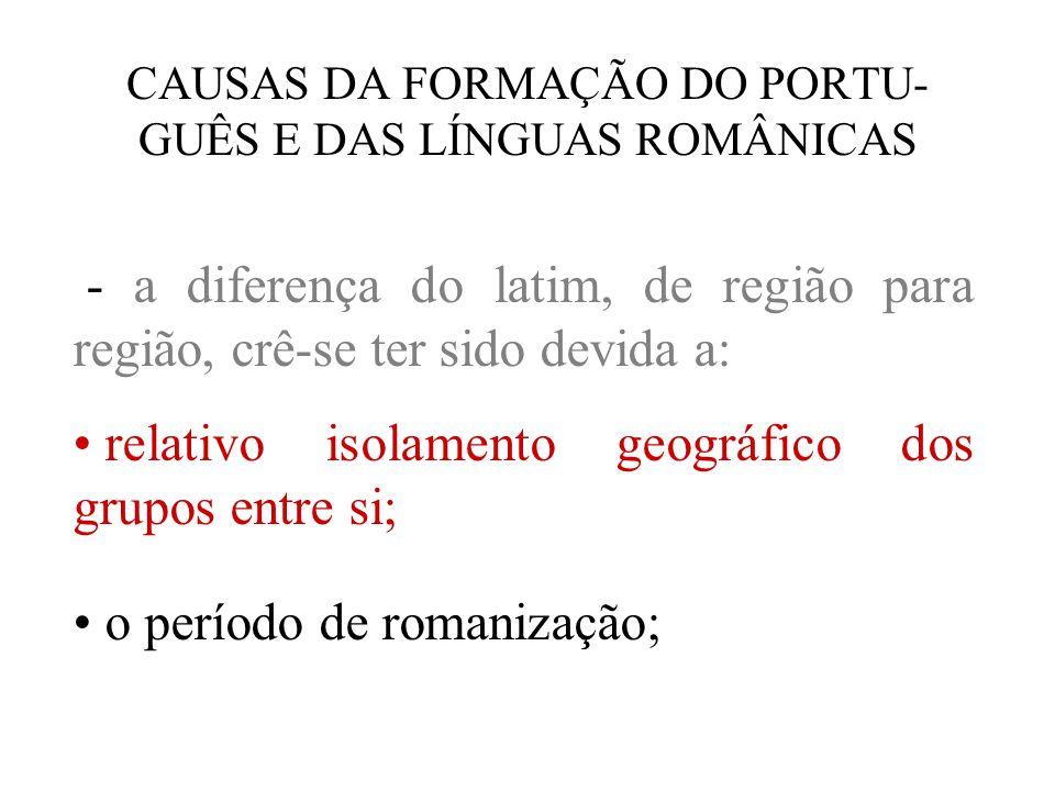 CAUSAS DA FORMAÇÃO DO PORTU- GUÊS E DAS LÍNGUAS ROMÂNICAS - a diferença do latim, de região para região, crê-se ter sido devida a: relativo isolamento geográfico dos grupos entre si; o período de romanização;