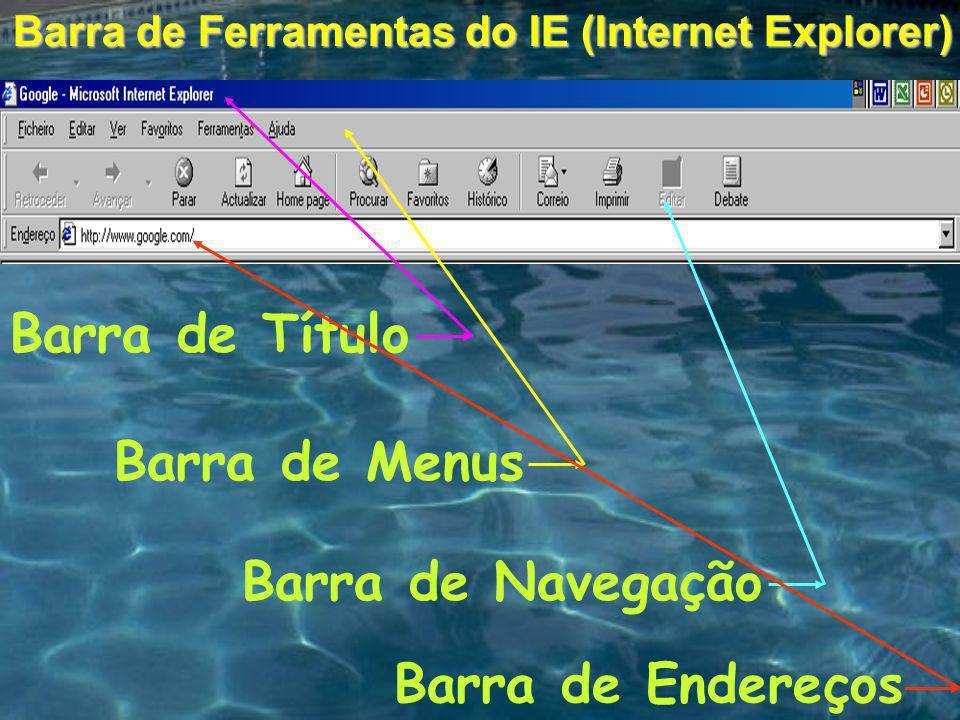 Barra de Menus Barra de Ferramentas do IE (Internet Explorer) Barra de Navegação Barra de Endereços Barra de Título