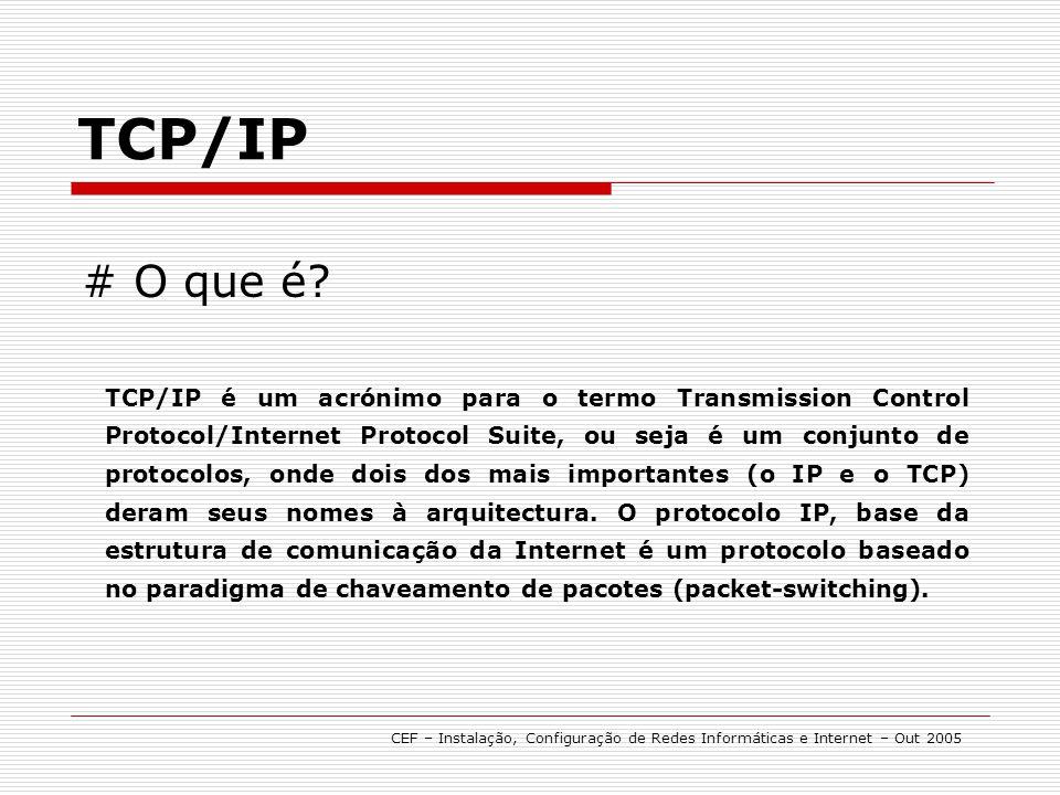 # O que é? TCP/IP é um acrónimo para o termo Transmission Control Protocol/Internet Protocol Suite, ou seja é um conjunto de protocolos, onde dois dos