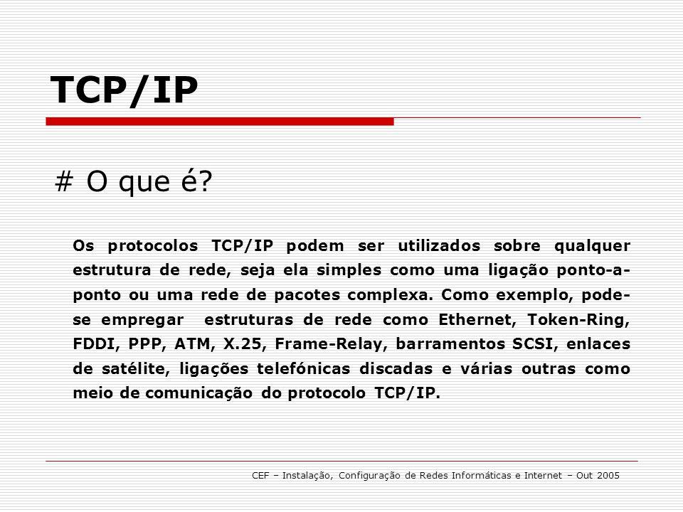 # O que é? Os protocolos TCP/IP podem ser utilizados sobre qualquer estrutura de rede, seja ela simples como uma ligação ponto-a- ponto ou uma rede de