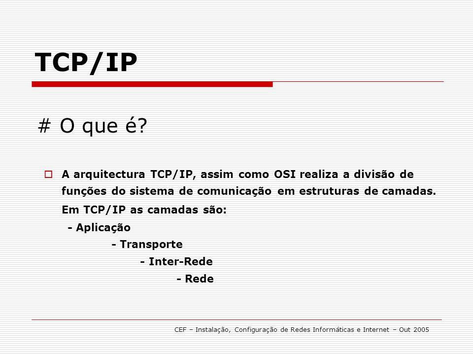 # O que é? A arquitectura TCP/IP, assim como OSI realiza a divisão de funções do sistema de comunicação em estruturas de camadas. Em TCP/IP as camadas