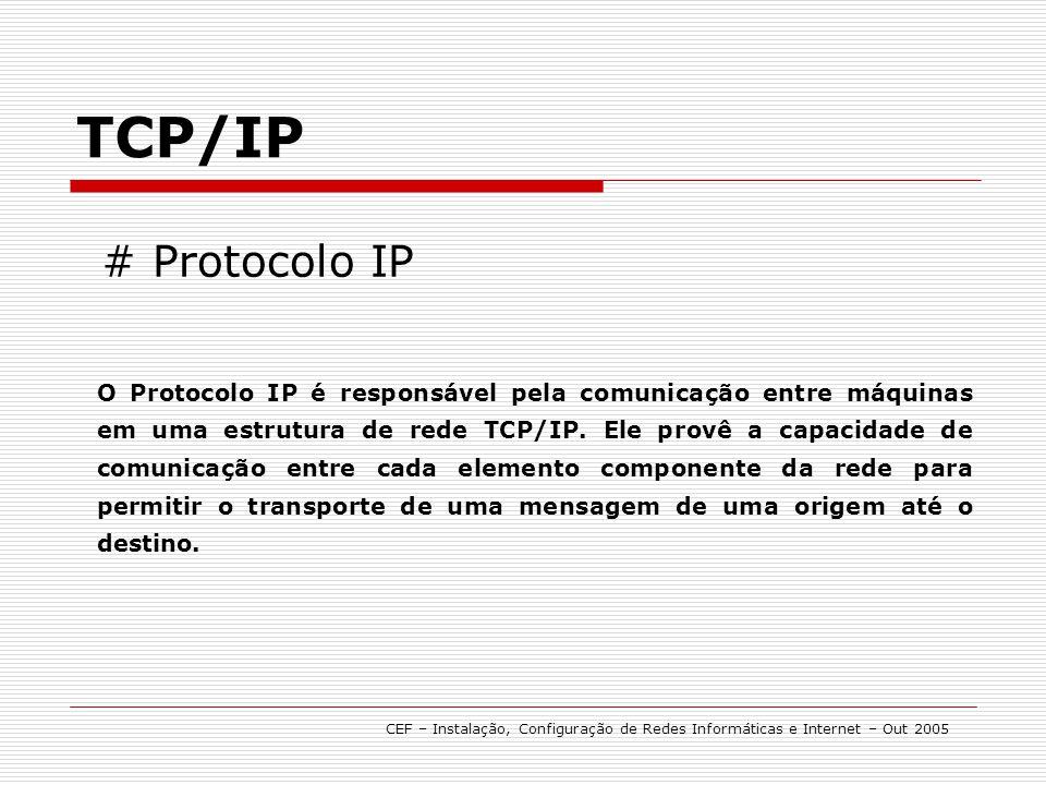 # Protocolo IP TCP/IP O Protocolo IP é responsável pela comunicação entre máquinas em uma estrutura de rede TCP/IP. Ele provê a capacidade de comunica