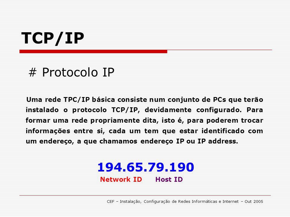 Uma rede TPC/IP básica consiste num conjunto de PCs que terão instalado o protocolo TCP/IP, devidamente configurado. Para formar uma rede propriamente