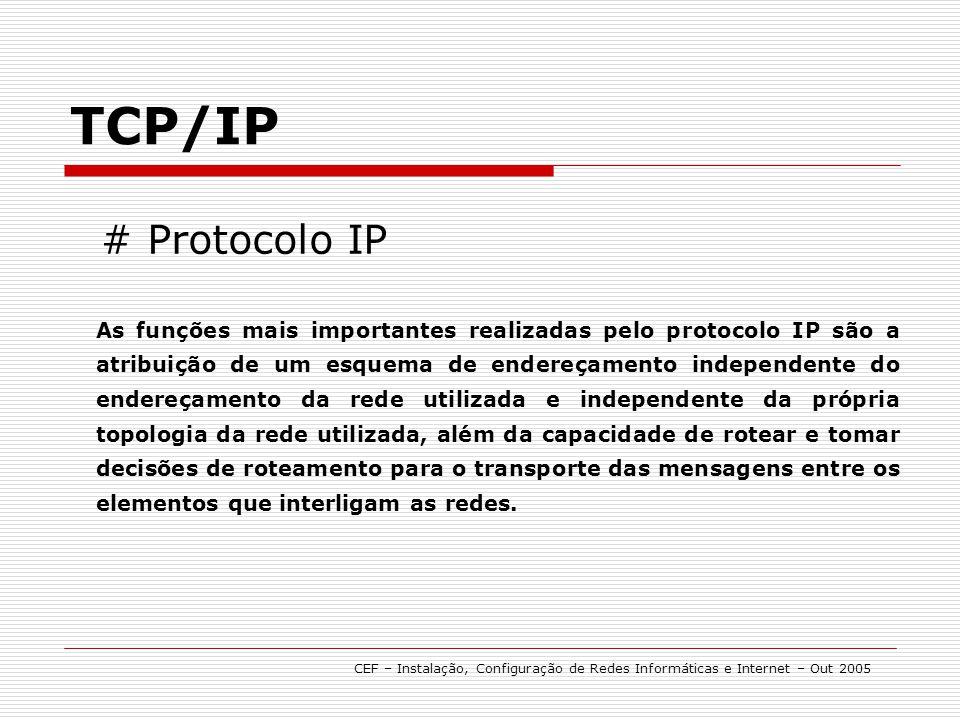 # Protocolo IP TCP/IP As funções mais importantes realizadas pelo protocolo IP são a atribuição de um esquema de endereçamento independente do endereç