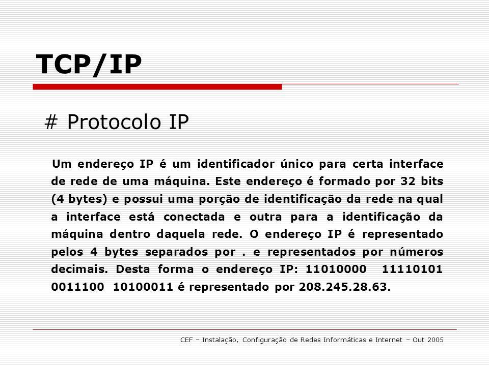 Um endereço IP é um identificador único para certa interface de rede de uma máquina. Este endereço é formado por 32 bits (4 bytes) e possui uma porção