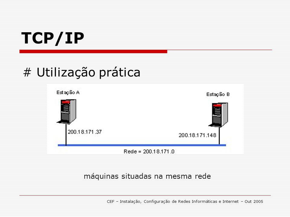 TCP/IP # Utilização prática CEF – Instalação, Configuração de Redes Informáticas e Internet – Out 2005 máquinas situadas na mesma rede