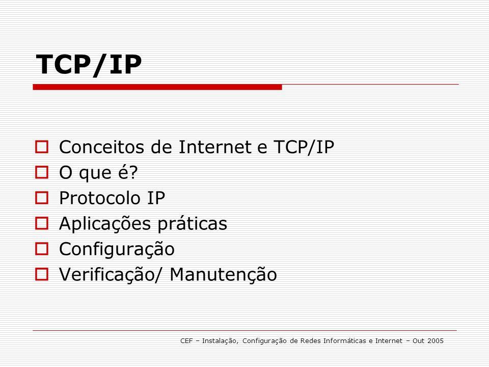 Conceitos de Internet e TCP/IP O que é? Protocolo IP Aplicações práticas Configuração Verificação/ Manutenção TCP/IP CEF – Instalação, Configuração de