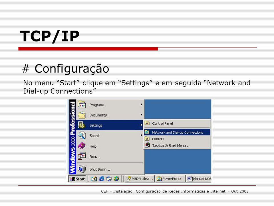 TCP/IP CEF – Instalação, Configuração de Redes Informáticas e Internet – Out 2005 # Configuração No menu Start clique em Settings e em seguida Network