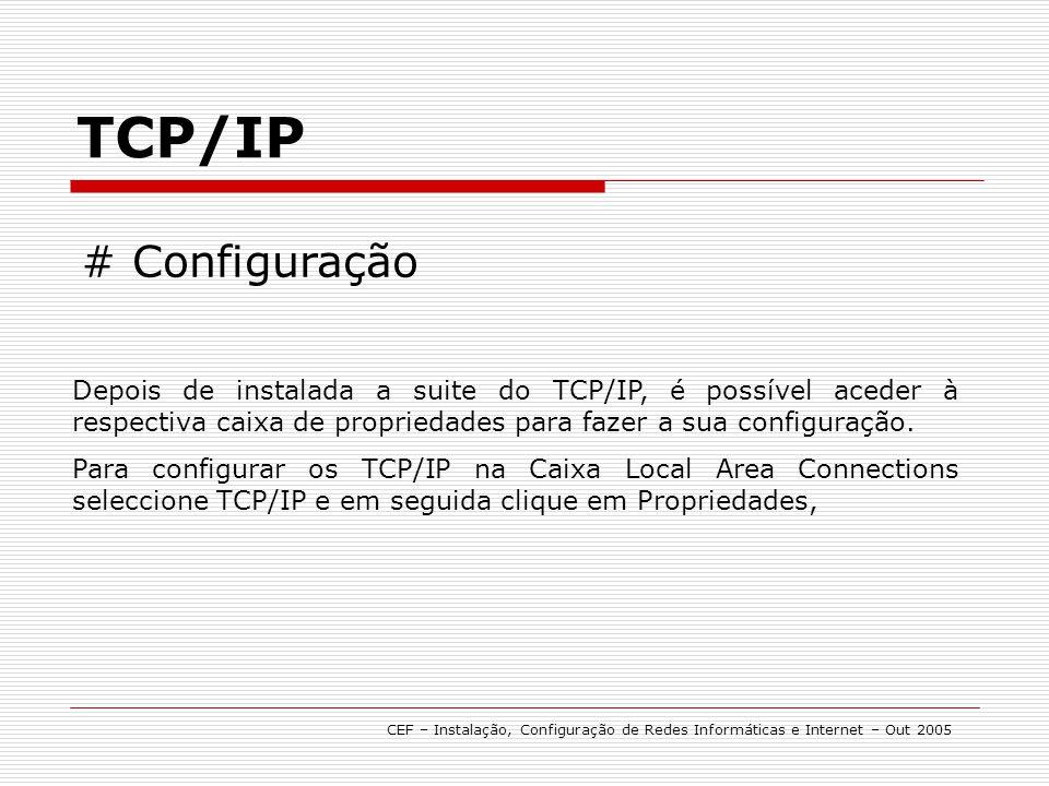 TCP/IP CEF – Instalação, Configuração de Redes Informáticas e Internet – Out 2005 # Configuração Depois de instalada a suite do TCP/IP, é possível ace