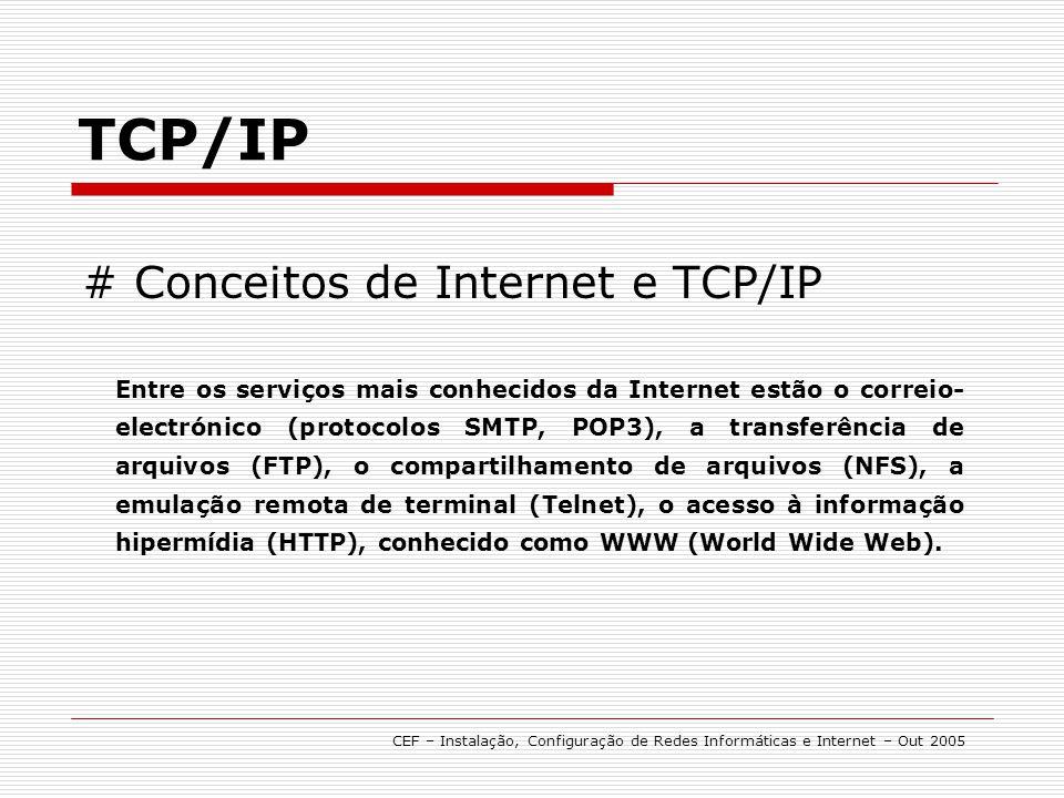 # Conceitos de Internet e TCP/IP TCP/IP Entre os serviços mais conhecidos da Internet estão o correio- electrónico (protocolos SMTP, POP3), a transfer