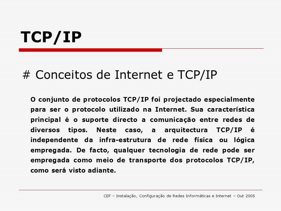 # Conceitos de Internet e TCP/IP TCP/IP O conjunto de protocolos TCP/IP foi projectado especialmente para ser o protocolo utilizado na Internet. Sua c