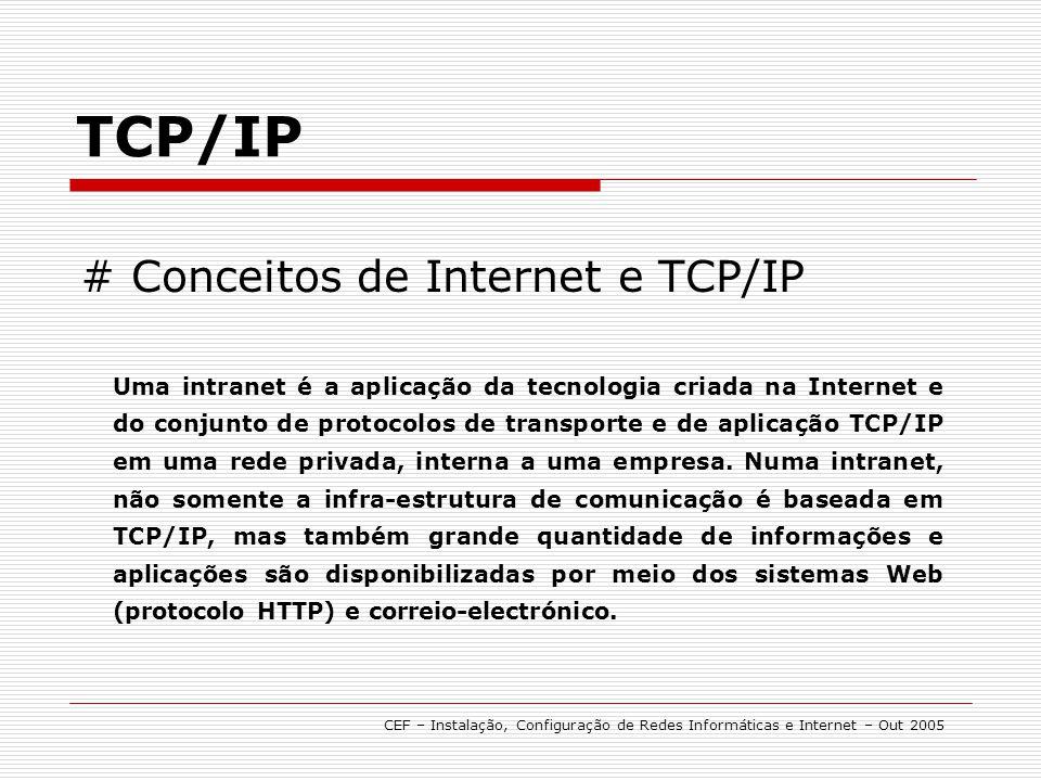 TCP/IP CEF – Instalação, Configuração de Redes Informáticas e Internet – Out 2005 # Manutenção/ Verificação Comando ping Este comando permite testar a conectividade com determinado (host) Pc ou servidor.