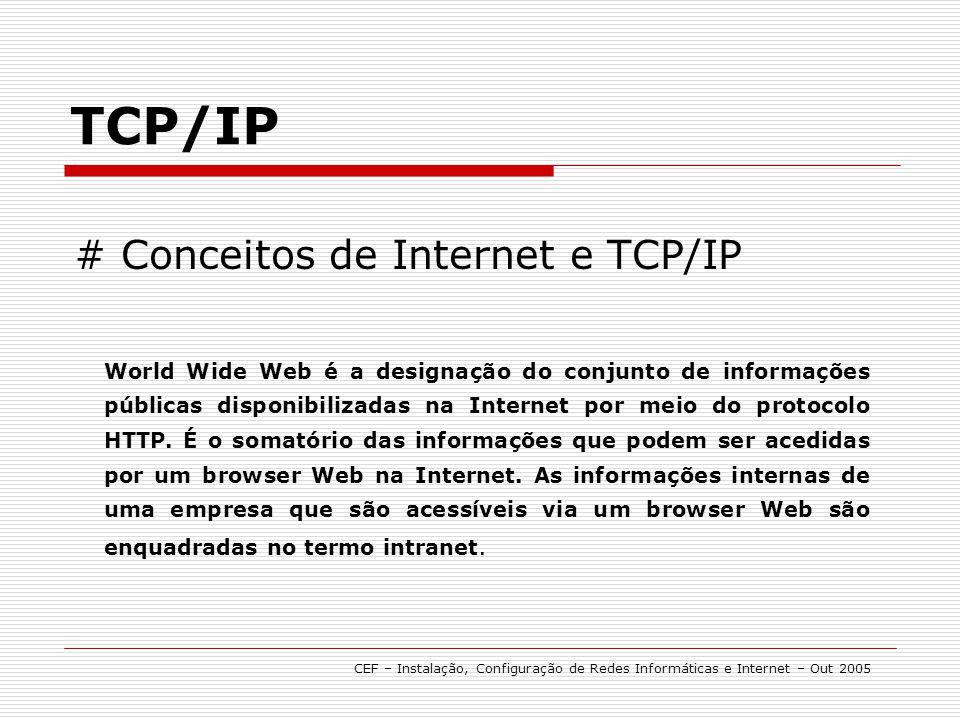 # Conceitos de Internet e TCP/IP TCP/IP World Wide Web é a designação do conjunto de informações públicas disponibilizadas na Internet por meio do pro