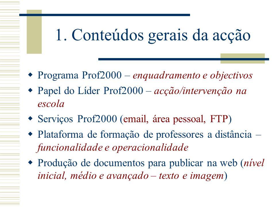 1. Conteúdos gerais da acção Programa Prof2000 – enquadramento e objectivos Papel do Líder Prof2000 – acção/intervenção na escola Serviços Prof2000 (e