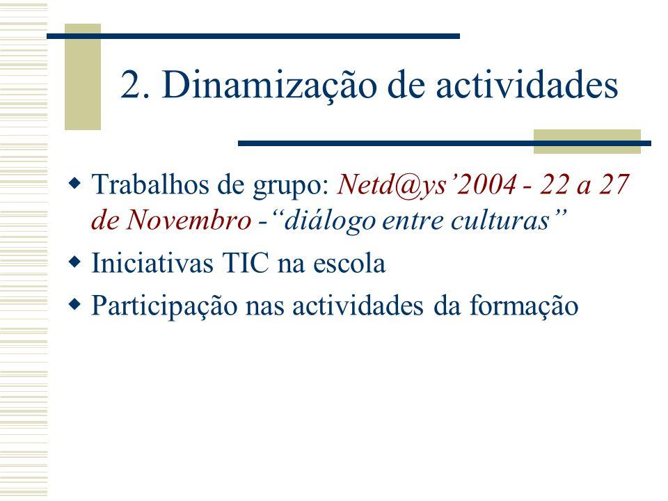 2. Dinamização de actividades Trabalhos de grupo: Netd@ys2004 - 22 a 27 de Novembro -diálogo entre culturas Iniciativas TIC na escola Participação nas