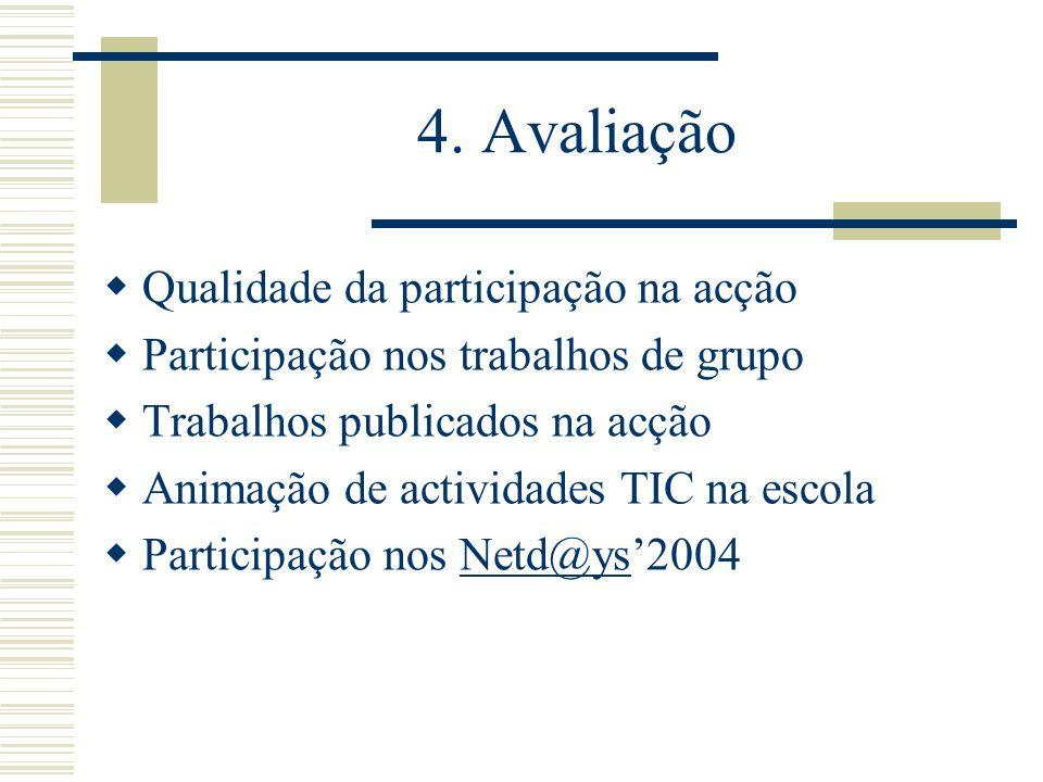 4. Avaliação Qualidade da participação na acção Participação nos trabalhos de grupo Trabalhos publicados na acção Animação de actividades TIC na escol