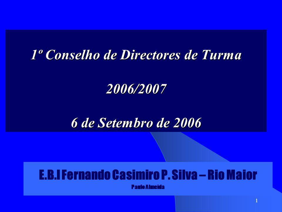 1 1º Conselho de Directores de Turma 2006/2007 6 de Setembro de 2006 E.B.I Fernando Casimiro P. Silva – Rio Maior Paulo Almeida