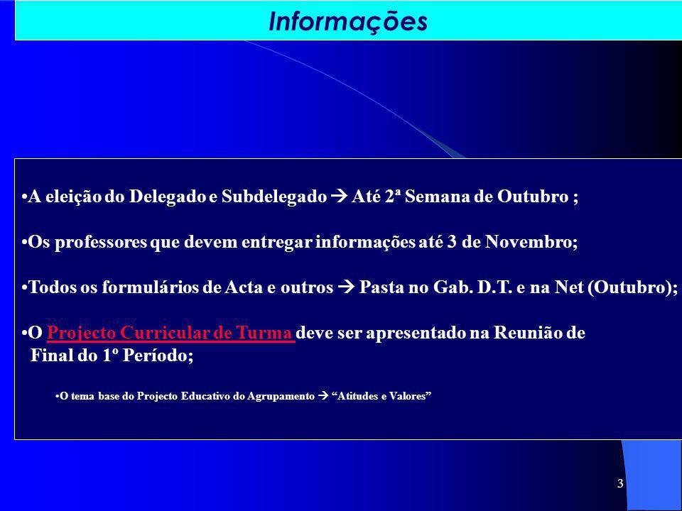 3 A eleição do Delegado e Subdelegado Até 2ª Semana de Outubro ; Os professores que devem entregar informações até 3 de Novembro; Todos os formulários