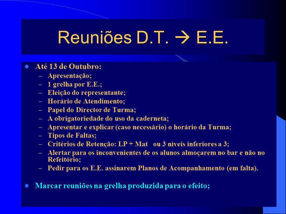 5 Reuniões D.T. E.E. Até 13 de Outubro: – Apresentação; – 1 grelha por E.E.; – Eleição do representante; – Horário de Atendimento; – Papel do Director