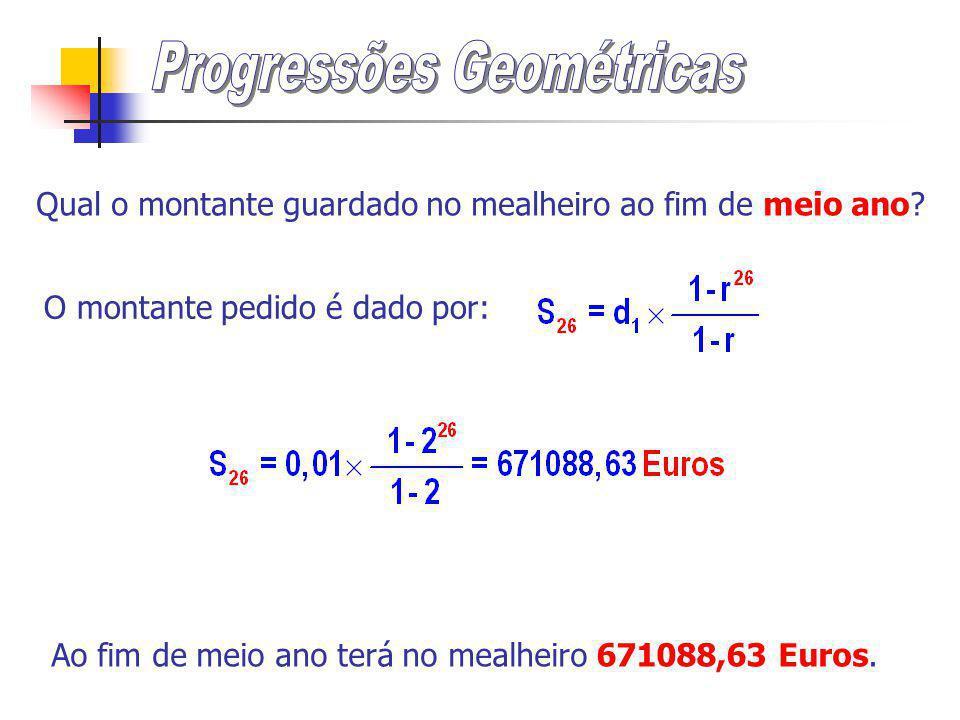 A soma dos n primeiros termos de uma progressão geométrica u n é igual a: em que u 1 é o primeiro termo e r é a razão (r0) Assim: