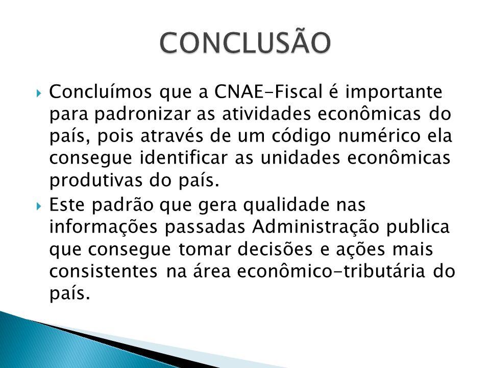 Concluímos que a CNAE-Fiscal é importante para padronizar as atividades econômicas do país, pois através de um código numérico ela consegue identificar as unidades econômicas produtivas do país.