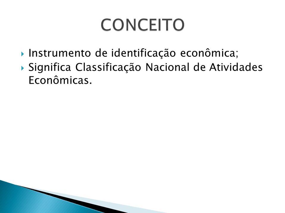 Instrumento de identificação econômica; Significa Classificação Nacional de Atividades Econômicas.