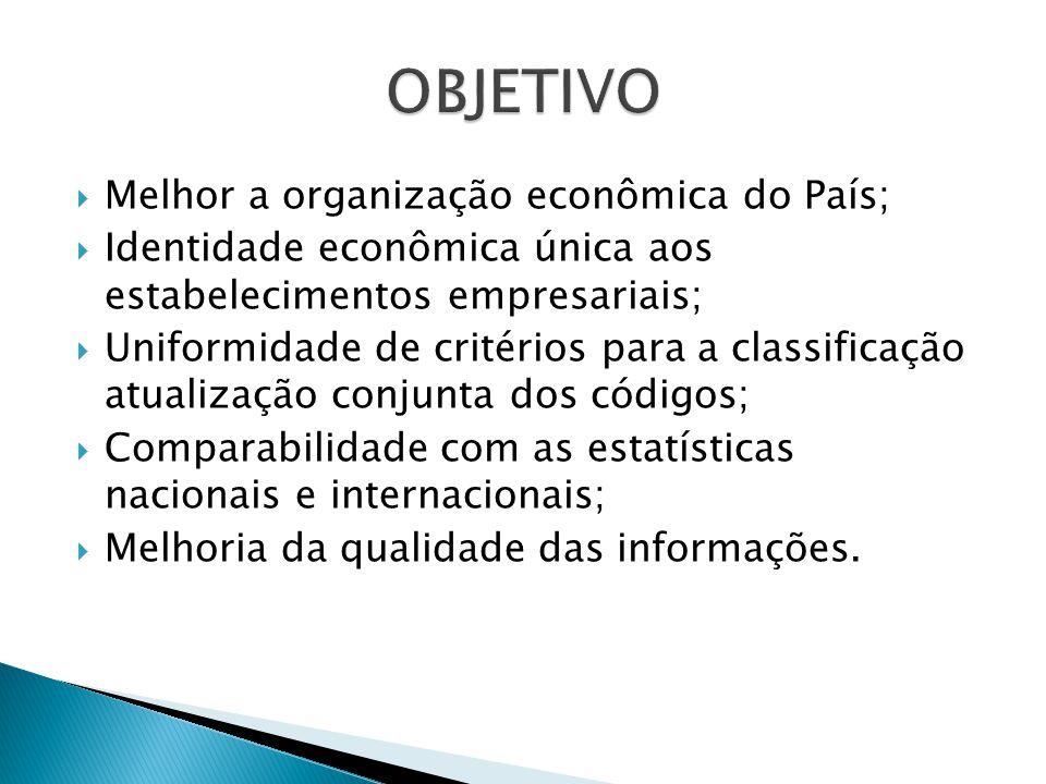 Melhor a organização econômica do País; Identidade econômica única aos estabelecimentos empresariais; Uniformidade de critérios para a classificação atualização conjunta dos códigos; Comparabilidade com as estatísticas nacionais e internacionais; Melhoria da qualidade das informações.