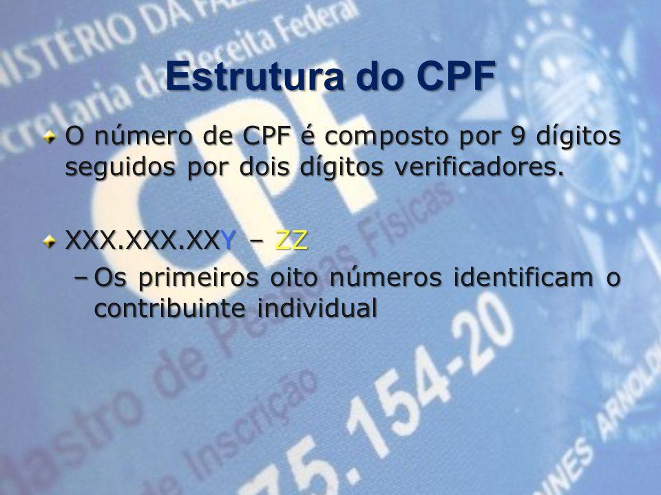 Estrutura do CPF O número de CPF é composto por 9 dígitos seguidos por dois dígitos verificadores.