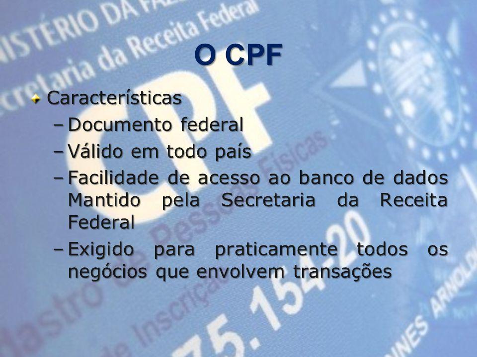 O CPF Características –Documento federal –Válido em todo país –Facilidade de acesso ao banco de dados Mantido pela Secretaria da Receita Federal –Exigido para praticamente todos os negócios que envolvem transações