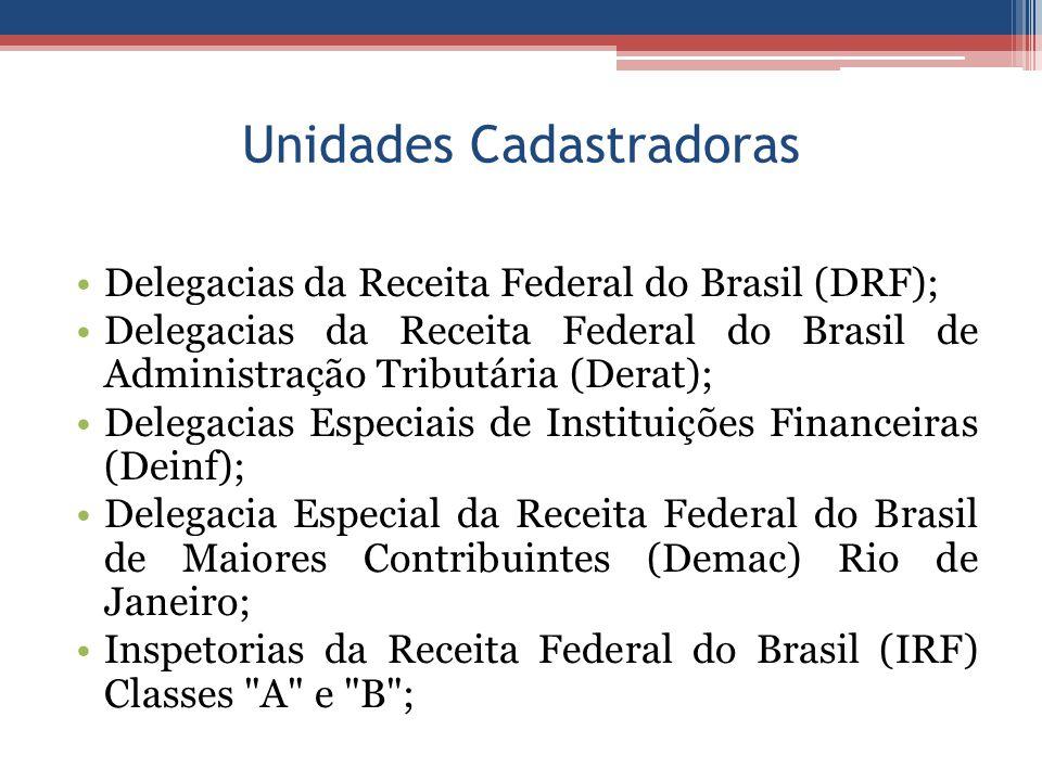Unidades Cadastradoras Delegacias da Receita Federal do Brasil (DRF); Delegacias da Receita Federal do Brasil de Administração Tributária (Derat); Delegacias Especiais de Instituições Financeiras (Deinf); Delegacia Especial da Receita Federal do Brasil de Maiores Contribuintes (Demac) Rio de Janeiro; Inspetorias da Receita Federal do Brasil (IRF) Classes A e B ;