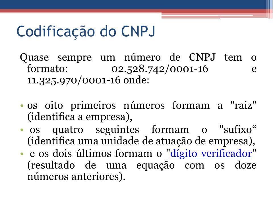 Codificação do CNPJ Quase sempre um número de CNPJ tem o formato: 02.528.742/0001-16 e 11.325.970/0001-16 onde: os oito primeiros números formam a raiz (identifica a empresa), os quatro seguintes formam o sufixo (identifica uma unidade de atuação de empresa), e os dois últimos formam o dígito verificador (resultado de uma equação com os doze números anteriores).dígito verificador