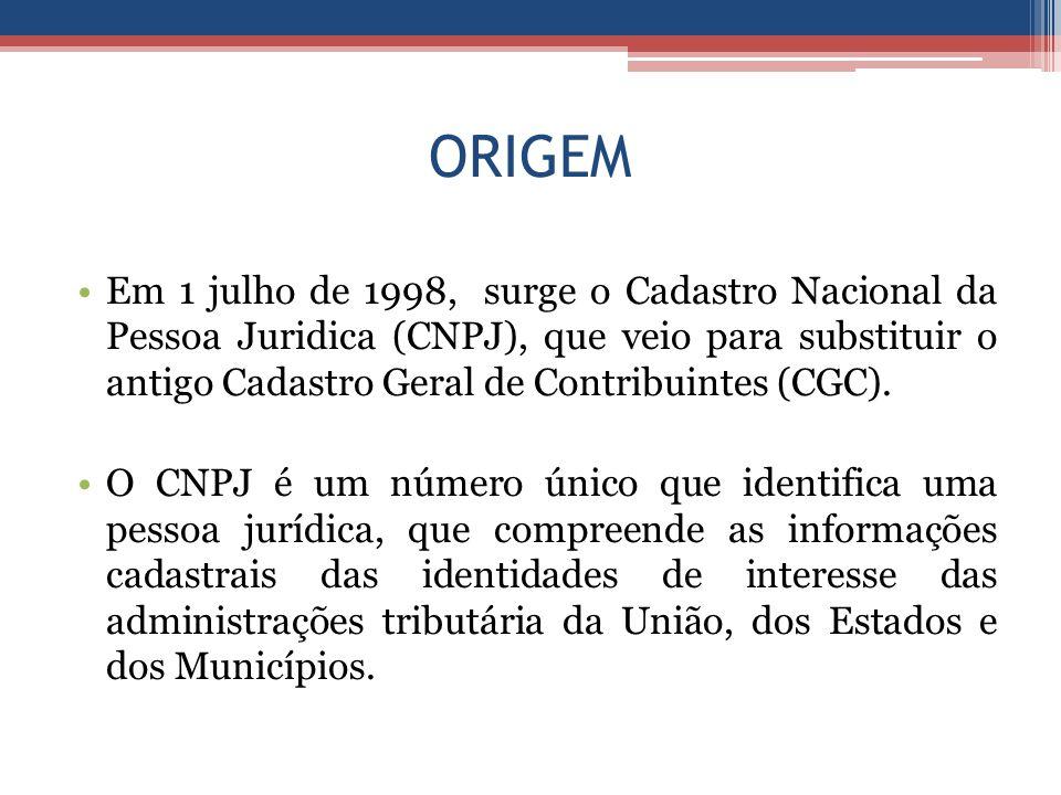 ORIGEM Em 1 julho de 1998, surge o Cadastro Nacional da Pessoa Juridica (CNPJ), que veio para substituir o antigo Cadastro Geral de Contribuintes (CGC).