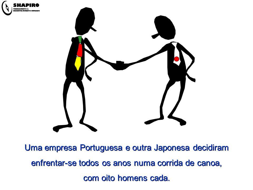 Uma empresa Portuguesa e outra Japonesa decidiram enfrentar-se todos os anos numa corrida de canoa, com oito homens cada.