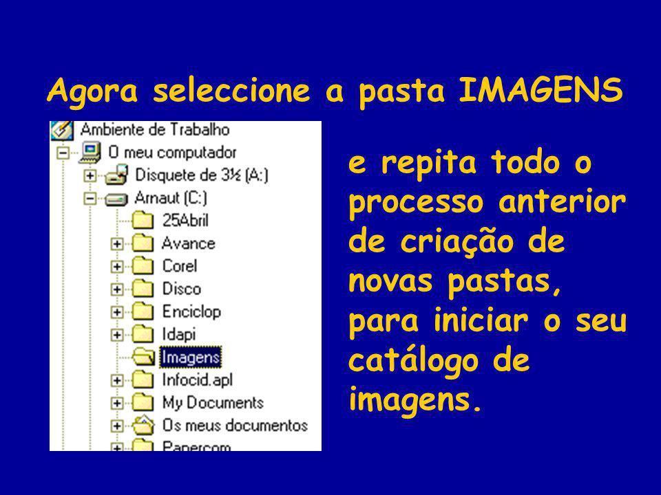 Agora seleccione a pasta IMAGENS e repita todo o processo anterior de criação de novas pastas, para iniciar o seu catálogo de imagens.