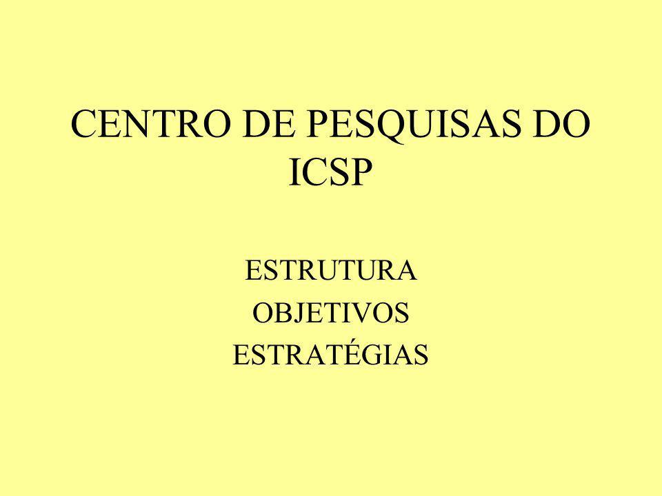 CENTRO DE PESQUISAS DO ICSP ESTRUTURA OBJETIVOS ESTRATÉGIAS