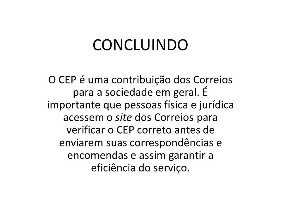 CONCLUINDO O CEP é uma contribuição dos Correios para a sociedade em geral. É importante que pessoas física e jurídica acessem o site dos Correios par