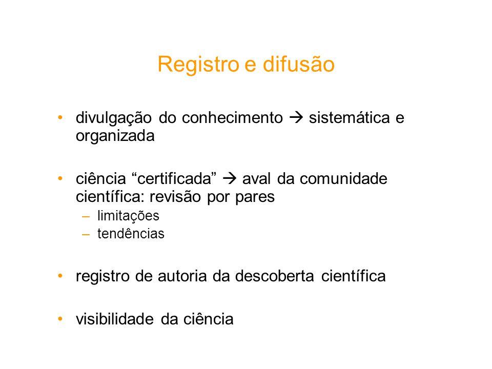 Registro e difusão divulgação do conhecimento sistemática e organizada ciência certificada aval da comunidade científica: revisão por pares –limitaçõe