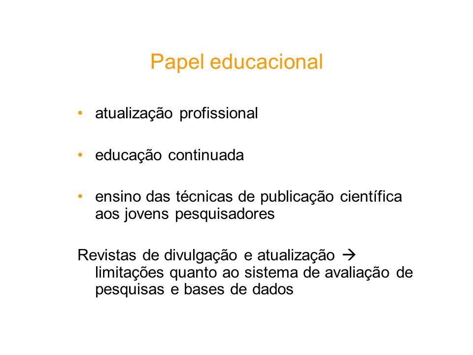 Papel educacional atualização profissional educação continuada ensino das técnicas de publicação científica aos jovens pesquisadores Revistas de divul