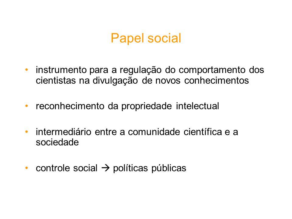 Papel social instrumento para a regulação do comportamento dos cientistas na divulgação de novos conhecimentos reconhecimento da propriedade intelectu