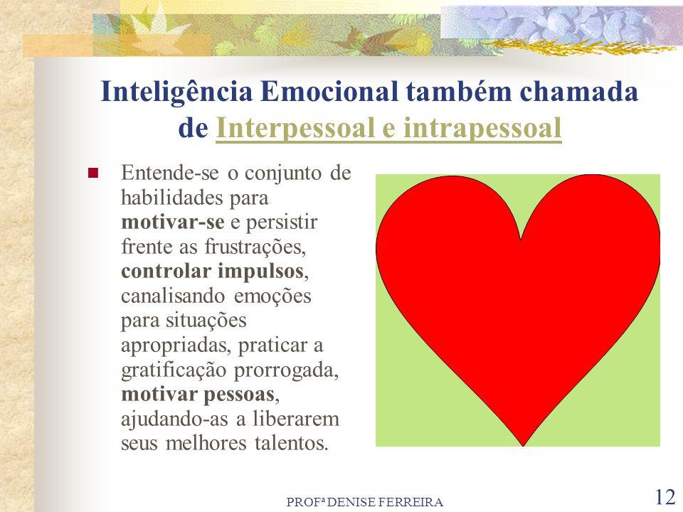 PROFª DENISE FERREIRA 12 Inteligência Emocional também chamada de Interpessoal e intrapessoal Entende-se o conjunto de habilidades para motivar-se e p