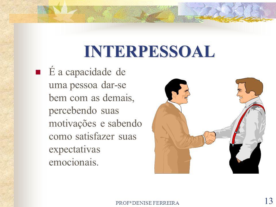 PROFª DENISE FERREIRA 13 INTERPESSOAL É a capacidade de uma pessoa dar-se bem com as demais, percebendo suas motivações e sabendo como satisfazer suas