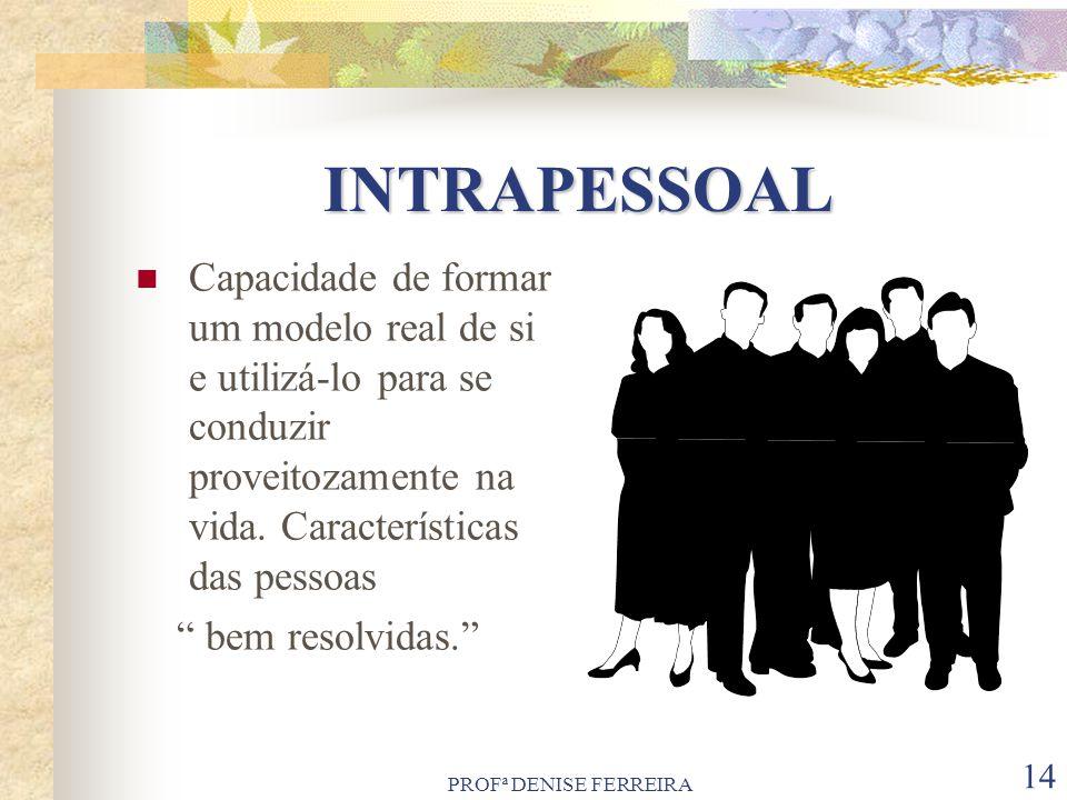 PROFª DENISE FERREIRA 14 INTRAPESSOAL Capacidade de formar um modelo real de si e utilizá-lo para se conduzir proveitozamente na vida. Características