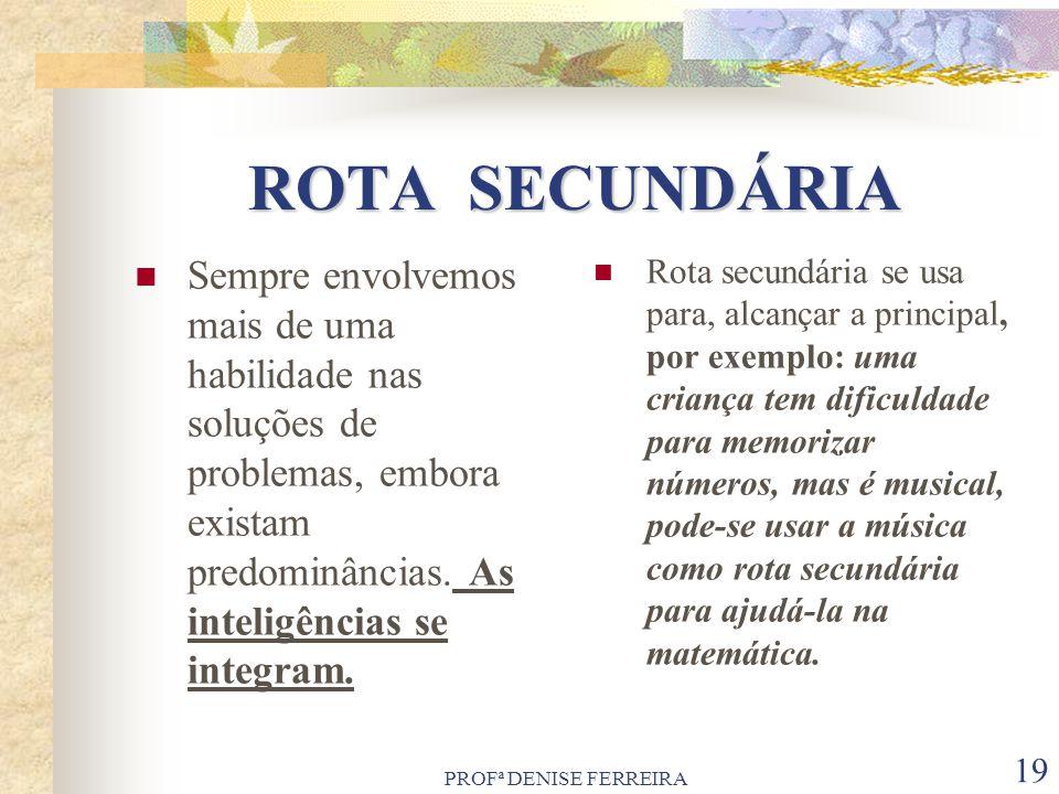 PROFª DENISE FERREIRA 19 ROTA SECUNDÁRIA ROTA SECUNDÁRIA Sempre envolvemos mais de uma habilidade nas soluções de problemas, embora existam predominân