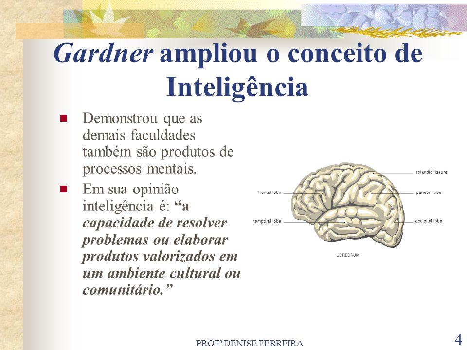 PROFª DENISE FERREIRA 5 Características das Inteligências O psicólogo estabeleceu alguns critérios para que a inteligência seja considerada como tal, desde sua possível manifestação em todos os grupos culturais até a localização de sua área no cérebro.