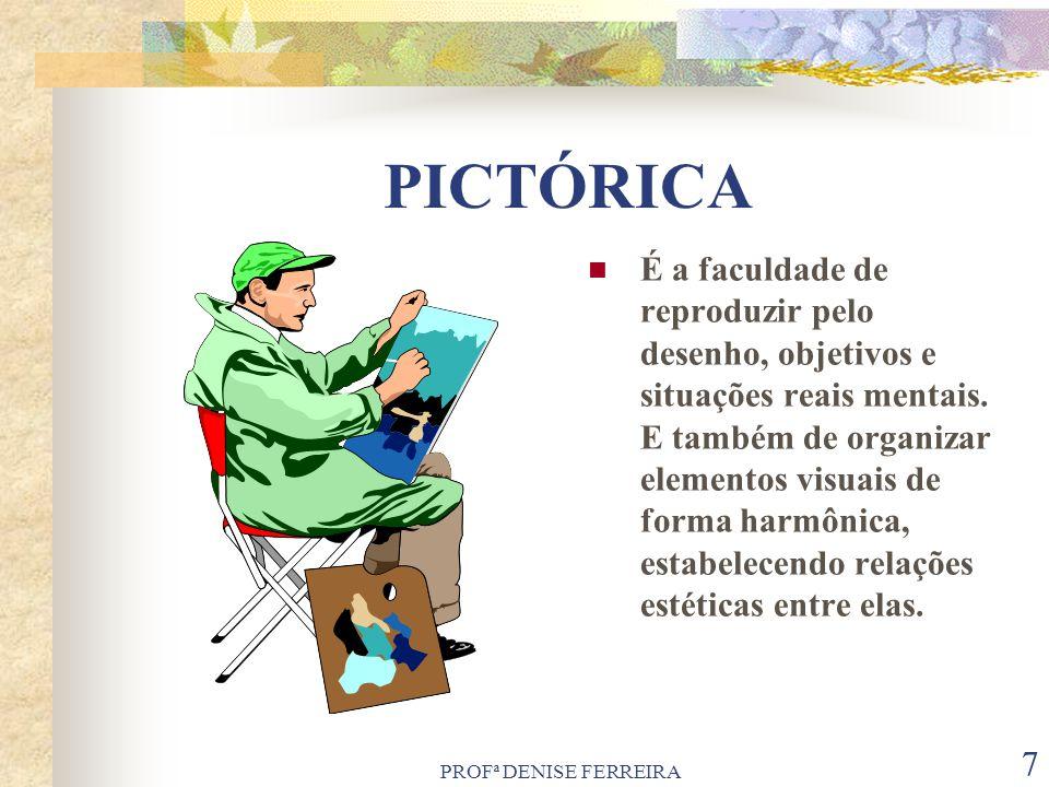 PROFª DENISE FERREIRA 7 PICTÓRICA É a faculdade de reproduzir pelo desenho, objetivos e situações reais mentais. E também de organizar elementos visua