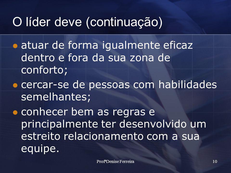 ProfªDenise Ferreira10 O líder deve (continuação) atuar de forma igualmente eficaz dentro e fora da sua zona de conforto; cercar-se de pessoas com hab
