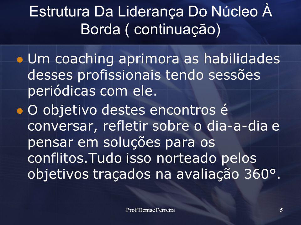 ProfªDenise Ferreira5 Estrutura Da Liderança Do Núcleo À Borda ( continuação) Um coaching aprimora as habilidades desses profissionais tendo sessões periódicas com ele.