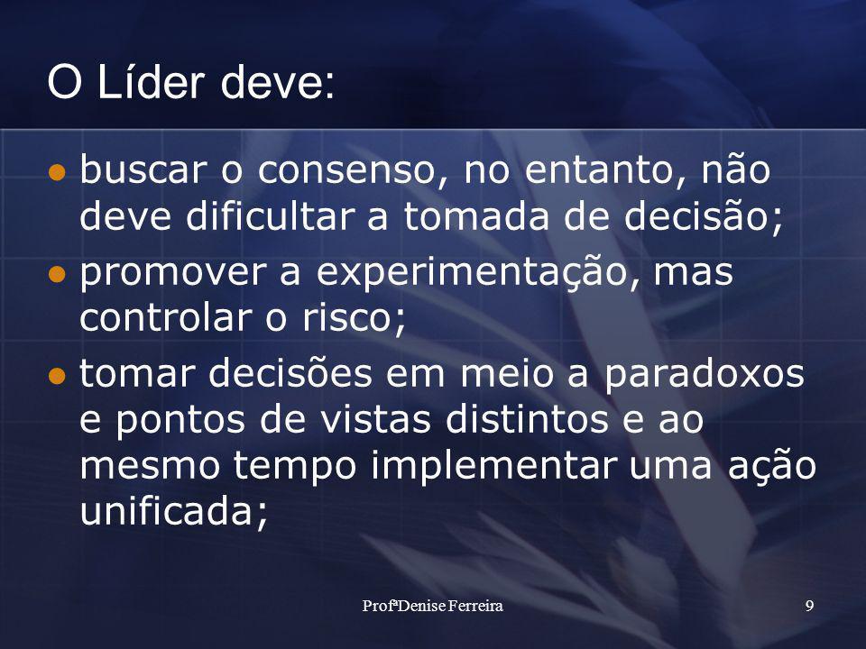 ProfªDenise Ferreira9 O Líder deve: buscar o consenso, no entanto, não deve dificultar a tomada de decisão; promover a experimentação, mas controlar o