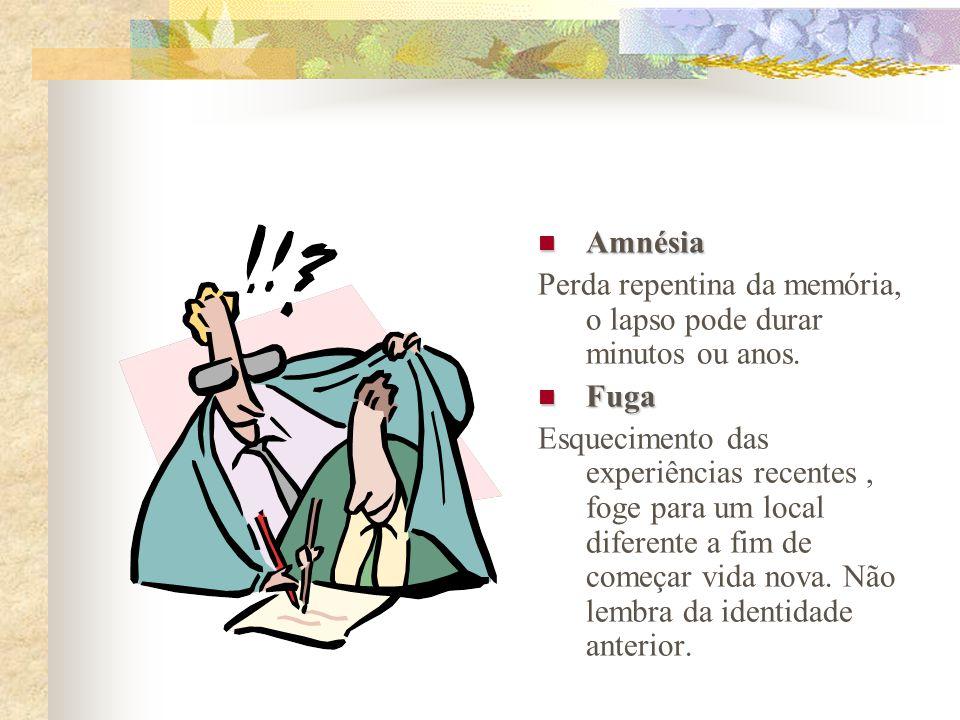 Amnésia Amnésia Perda repentina da memória, o lapso pode durar minutos ou anos.